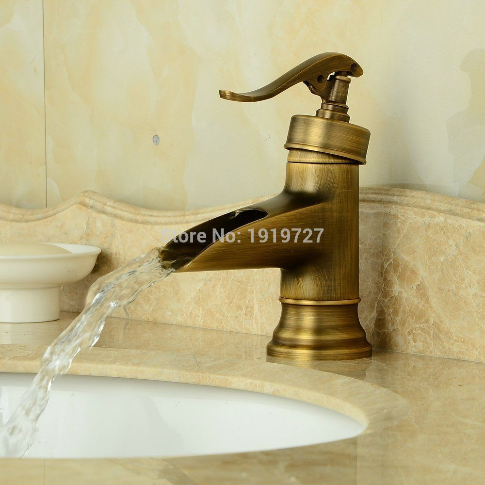 Antique Brass Finish Deck Mount Basin Mixer Taps Centerset Single ...