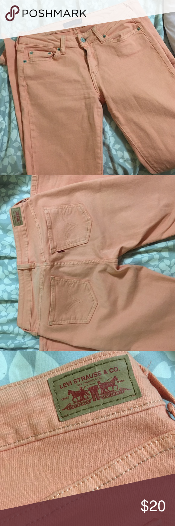 Levis jeans coral As pictured in the style 535 leggings , extremely skinny and fitted to the body . I wore these only 2 times , size 7 . Runs like a size 4 in women's . Perfect for the summer . Levi's Jeans Skinny