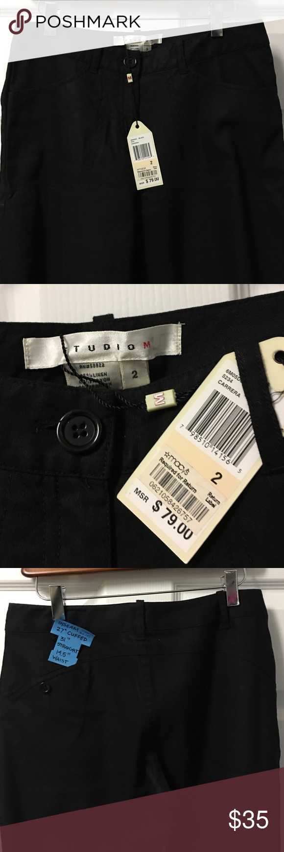 """Studio M Black Linen Pants. NWT Inseam 27"""" cuffed, 31"""" uncuffed  Waist is 14 1/2"""" across flat. Linen has some weight to it. This will be a nice fall trouser. NWT. Paid $79 at Macy's Max Studio Pants Trousers"""