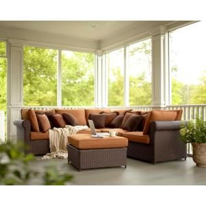 Cibola 6 Piece Sectional Patio Seating Set With Nutmeg  Cushions FW HUN6PCSCT At