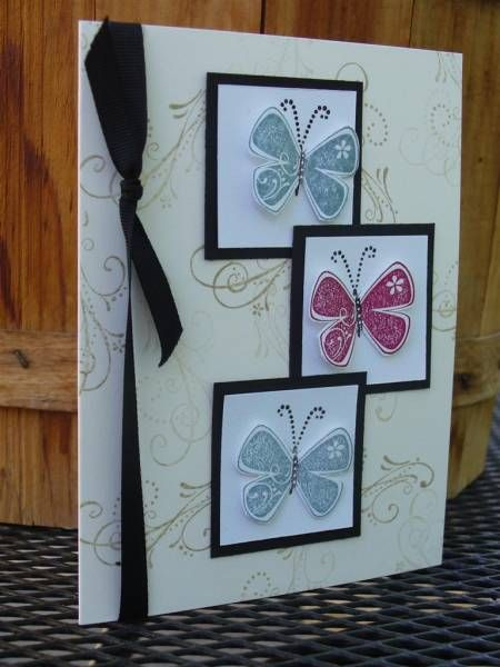 This is CASE'd but I don't know who the original belonged to. A friend of mine has a big file of cards and that's where this design came from. The butterflies are cut out and popped up. This is a great anything card and has the sentiment inside.  TFL