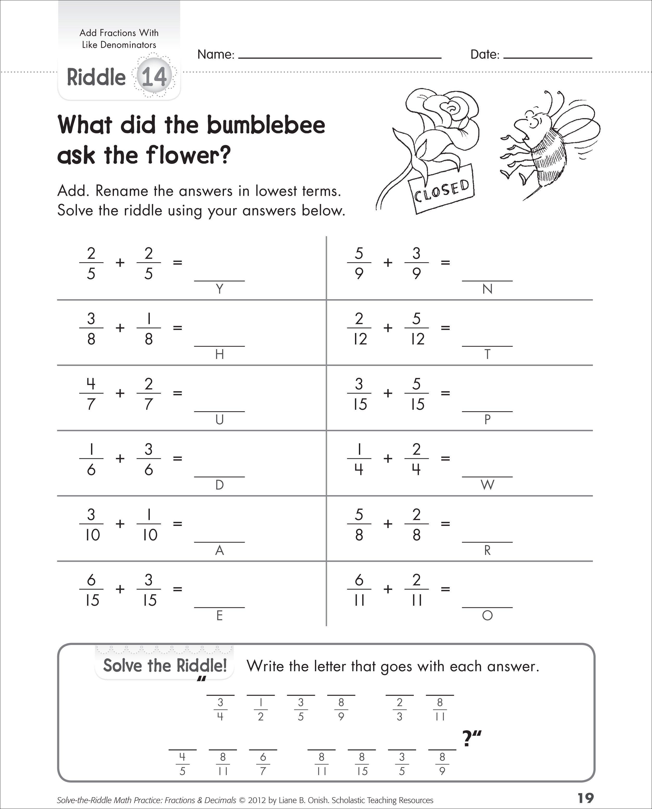 Adding Fractions With Common Denominators Fractions Worksheets