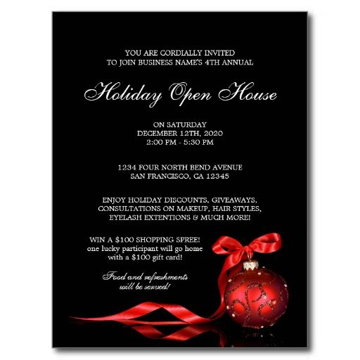 Elegant Holiday Open House Invitation Templates Postcard Holiday - open house templates
