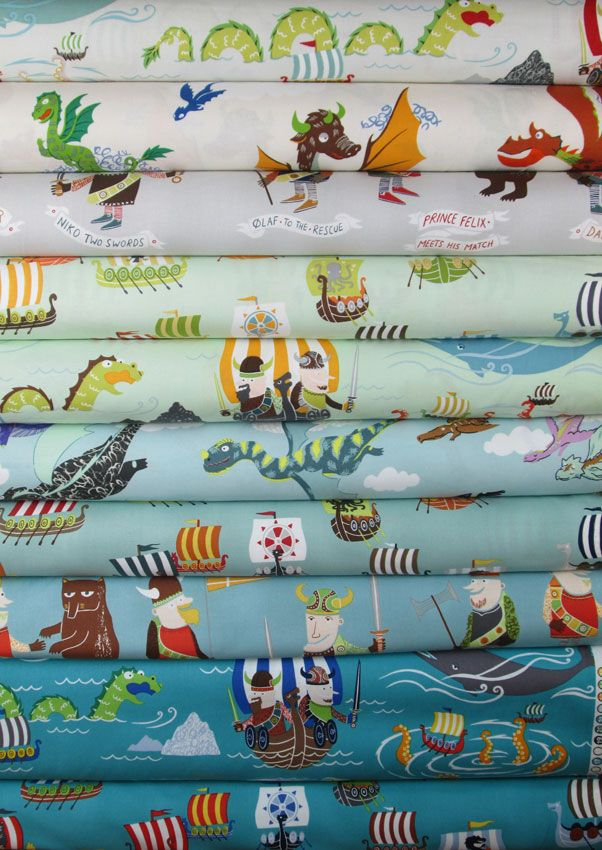 Alexander Henry Vikings In FAT QUARTERS 10 Total Crafts Viking Baby Handmade Baby Quilts