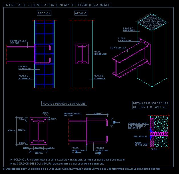 Entrega de viga metalica a pilar de hormig n armado for Forjado estructura metalica