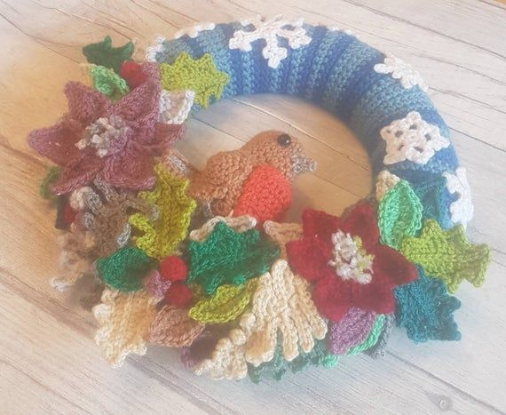 Photo of Christmas wreath, crochet wreath, robin and leaves wreath, winter wonderland wreath, handmade to order, door hanging, garland, decoration
