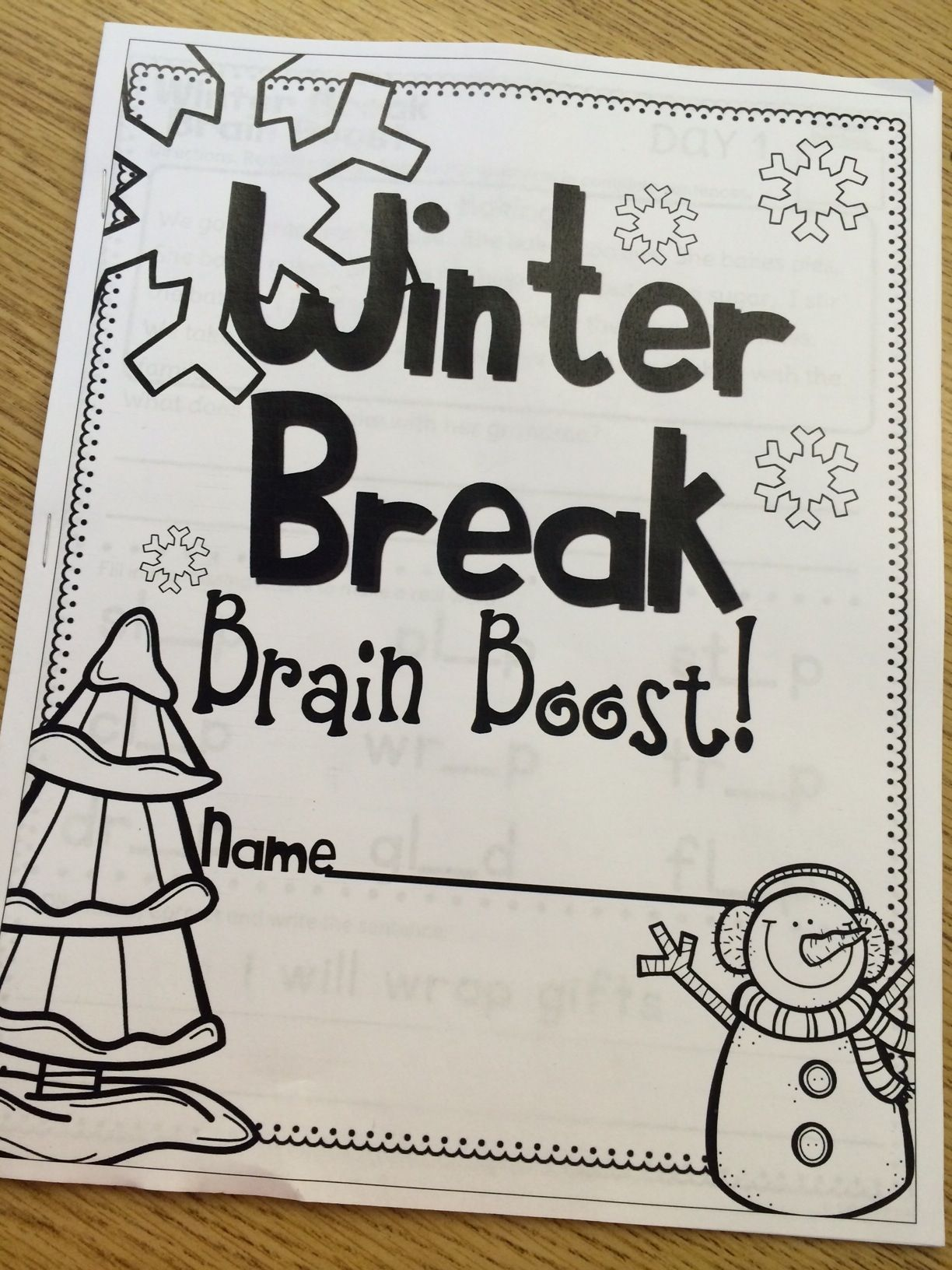 Winter Break Brain Boost For First Grade