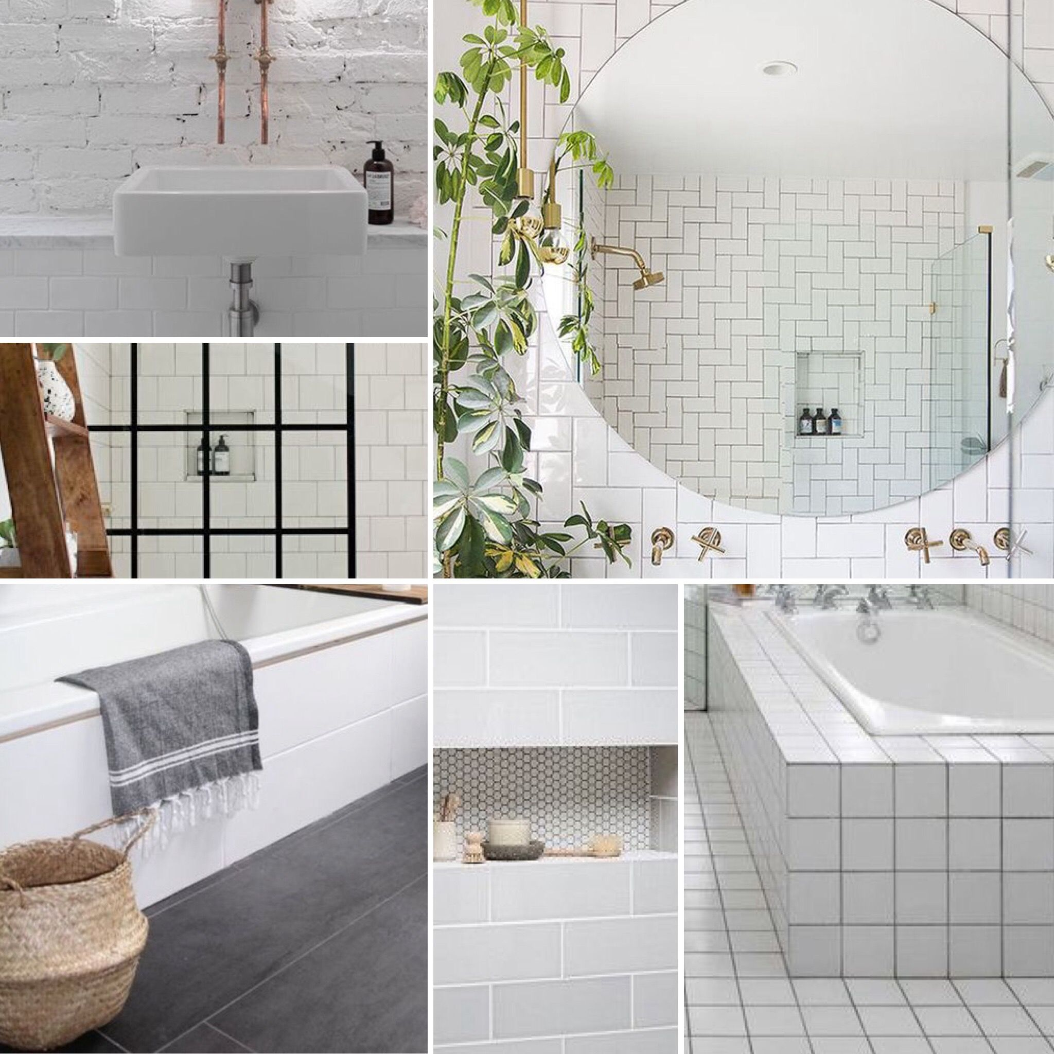 How I envisage our new family bathroom... Clean, monochrome space ...
