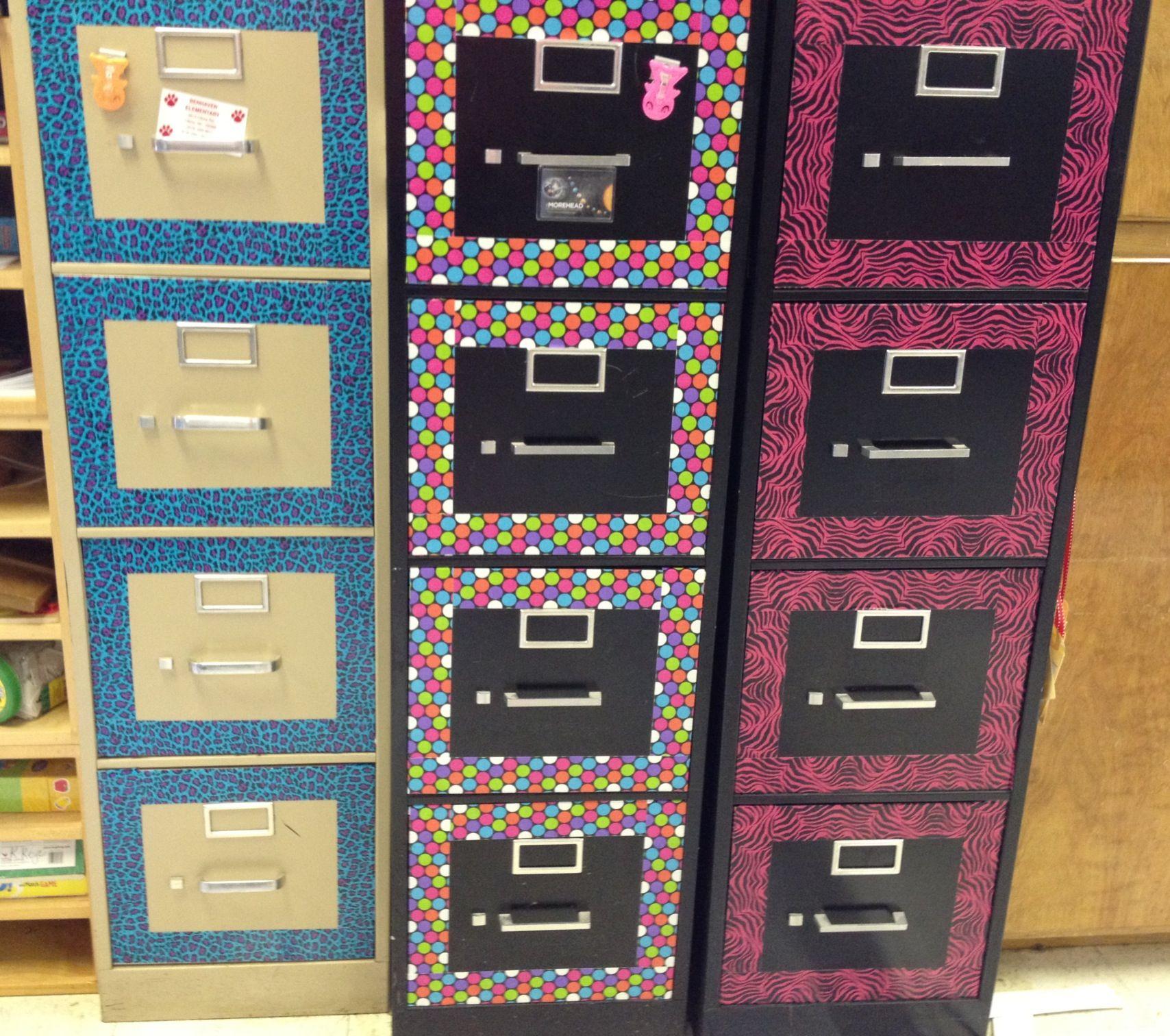 Duck Tape File Cabinet Make Over Middle School Classroom Decor