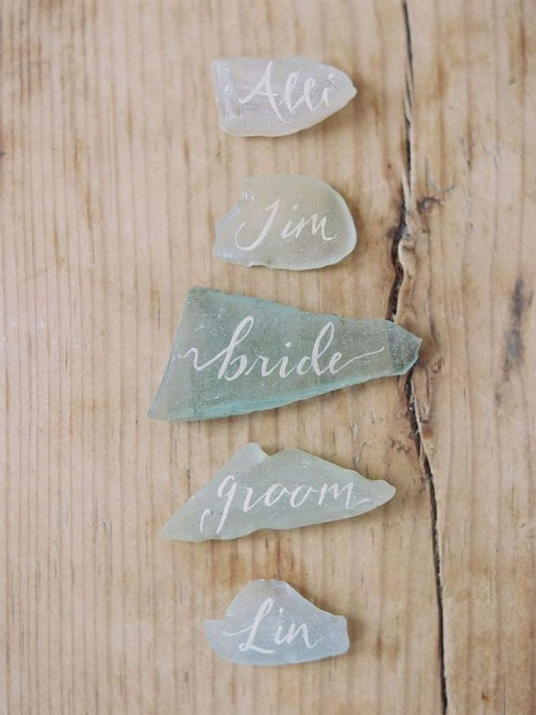 22 Fabulous Sage Wedding Ideas – Etched Glass Calligraphy Escort Cards