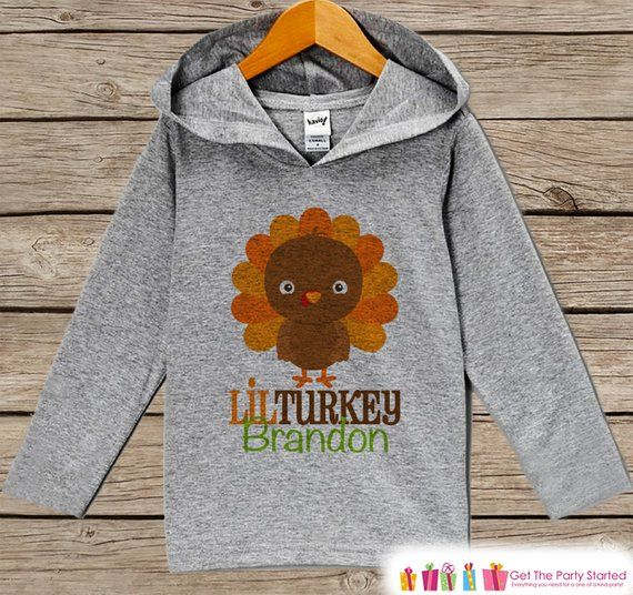 Boys Thanksgiving Outfit - Boy's Orange Lil Turkey Shirt - Turkey Day Grey Hoodie Kids Pullover - Kids Thanksgiving Turkey Shirt #thanksgivingoutfit