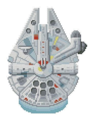 Photo of cross stitch pattern Millennium Falcon