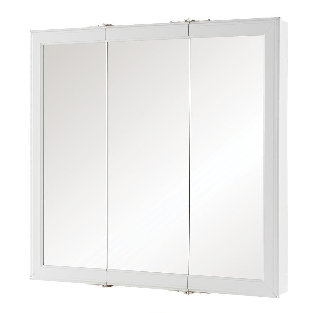 Home Decorators Collection 30 In W X 29 H Fog Free Framed Surface Mount Tri View Bathroom Medicine Cabinet White 45393 The Depot
