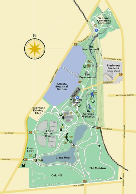 Piedmont Park Map Piedmont Park has been Atlanta's
