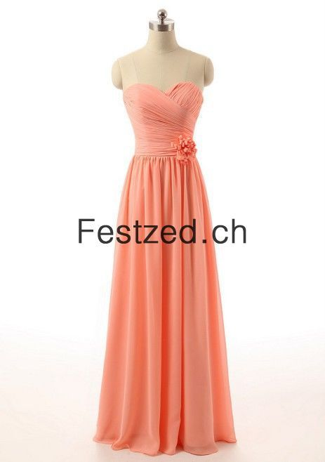 Lang Herzausschnitt Blumen Orange Chiffon Abendkleider ...