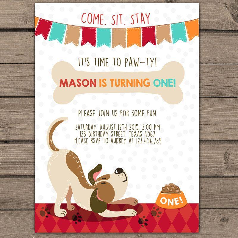 puppy adoption party birthday invitation by swishprintables, Birthday invitations