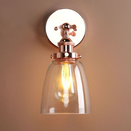 Vintage industrial cafe glass chrome brass rustic sconce wall light ...