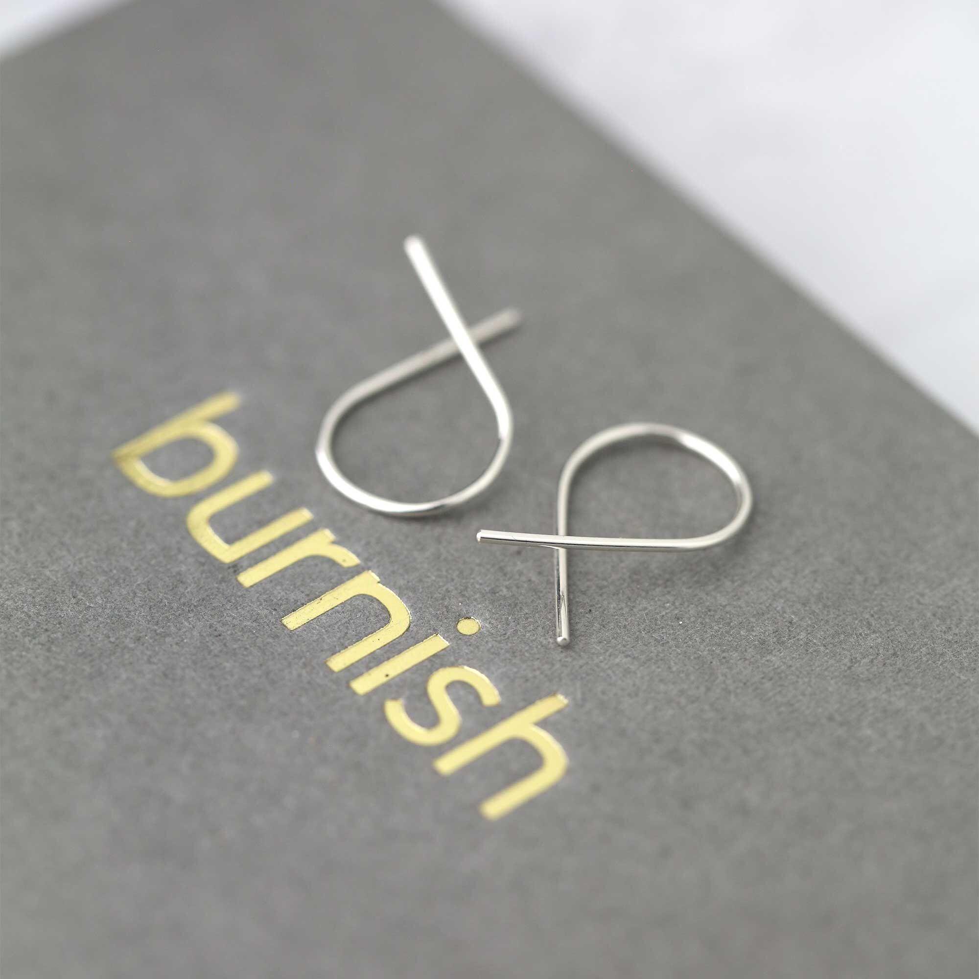 Edgy Open Hoop Earrings • Modern Jewelry Twist Earrings Handmade •Wire Earrings • Small Everyday Minimalist Earrings