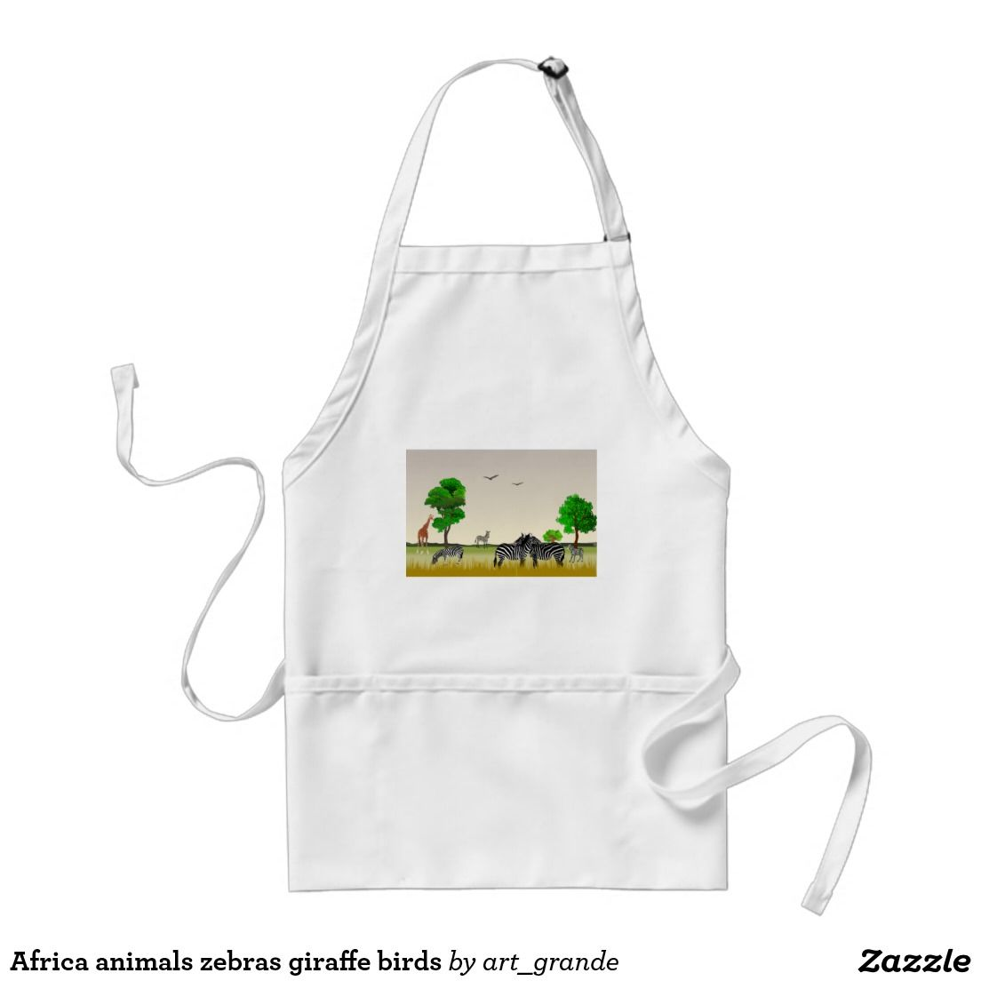 Africa animals zebras giraffe birds adult apron