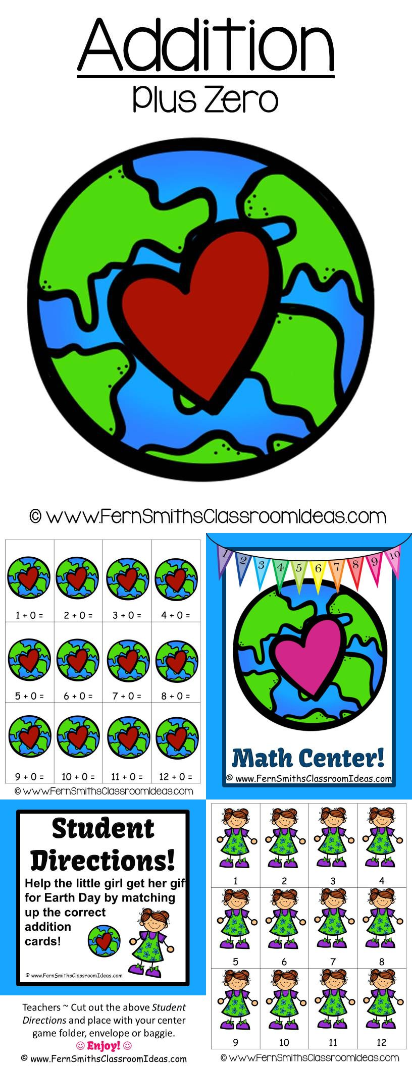 Earth Day Math A Quick and Easy to Prep Plus Zero Addition