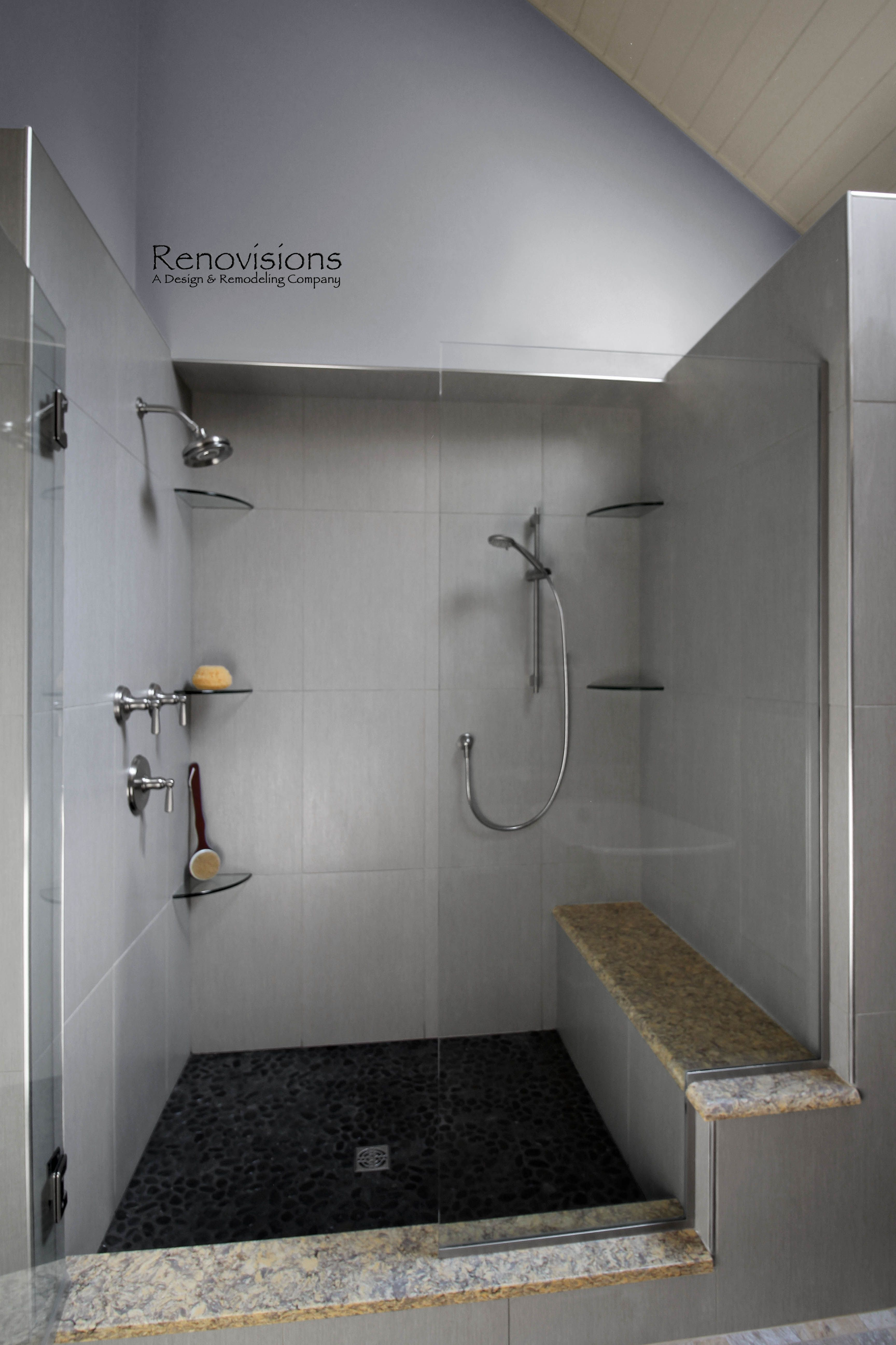 A recently pleted master bathroom remodel by Renovisions Master