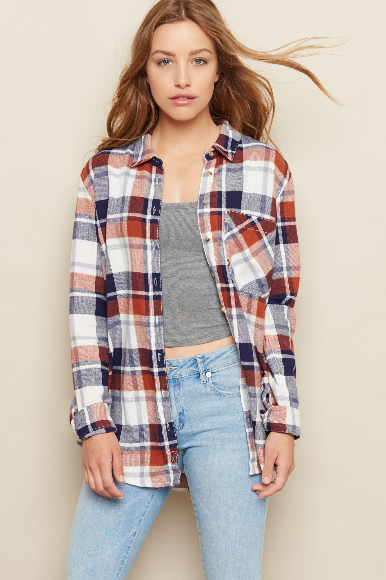Boyfriend Plaid Flannel Shirt