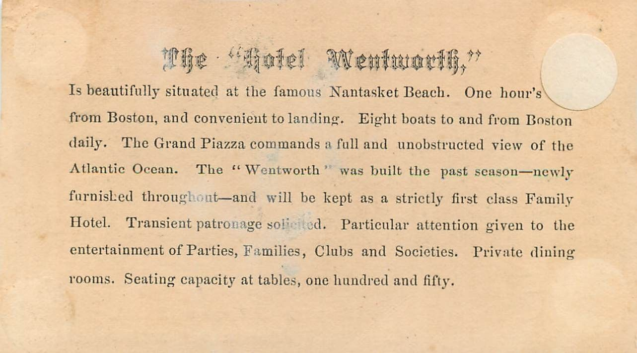 The Wentwort Hotel Nantasket Beach MA Victorian Business Card ...