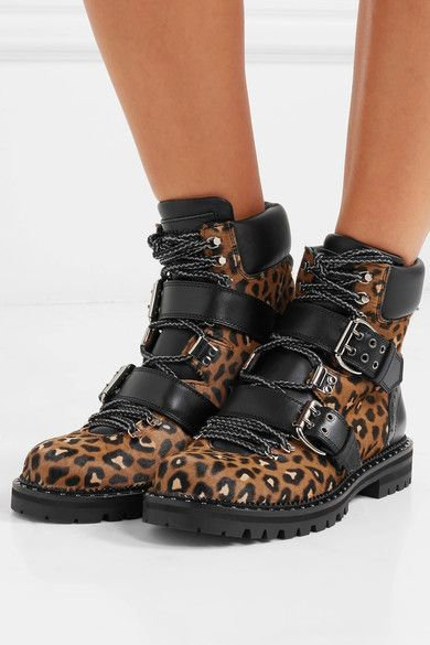 f6d20f6ac7e Jimmy Choo - Breeze Studded Leather-trimmed Leopard-print Calf Hair Ankle  Boots - Leopard print