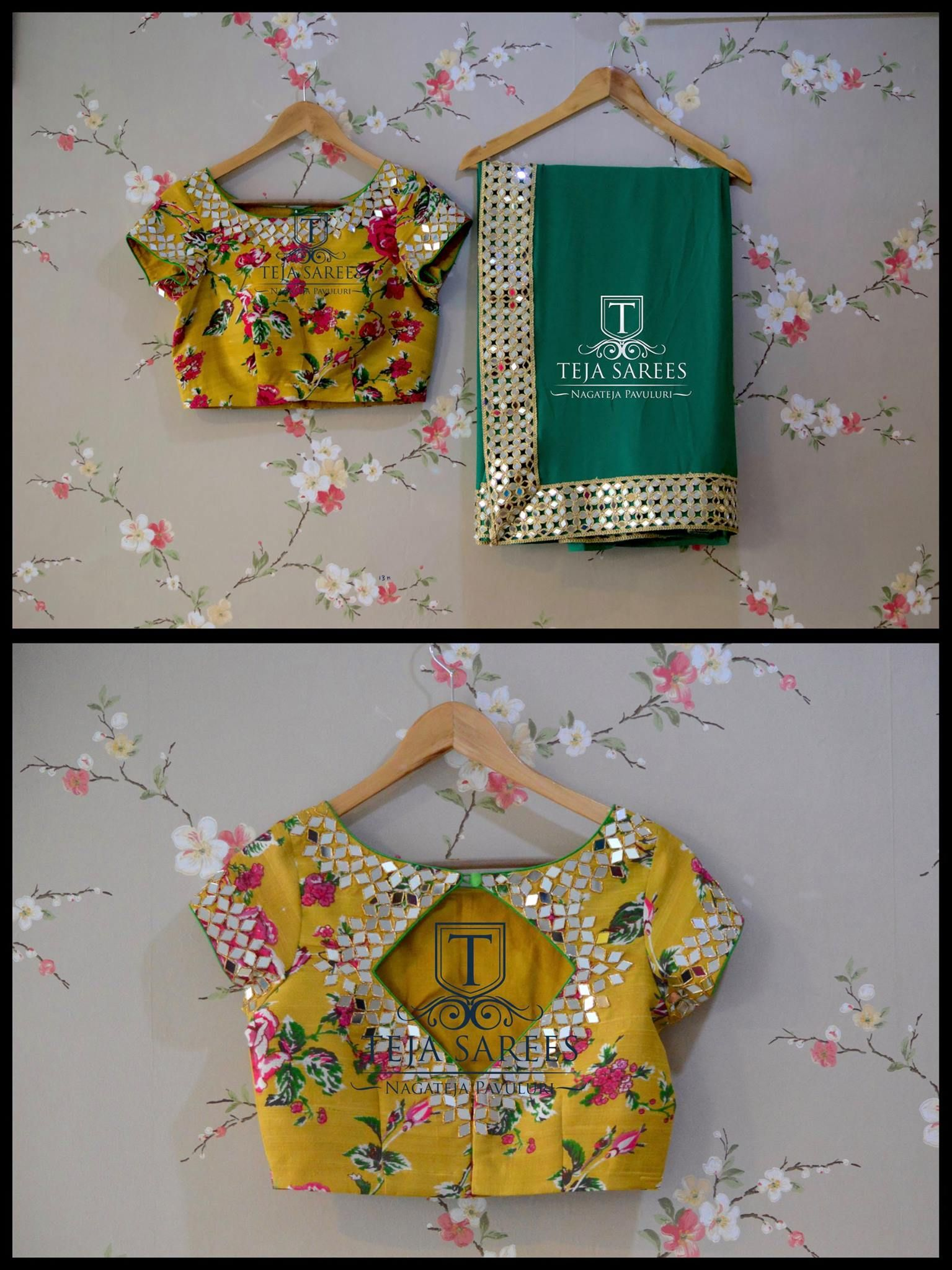 Saree blouse design for chiffon saree tssravailable chiffon saree with a floral mirror hand worked