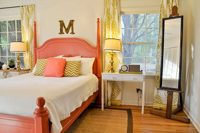 Elegant Salmon U0026 Chartreuse Bedroom   Beautiful Matters