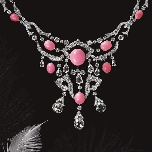David Morris--Pink pearls and white diamonds hand-set in creative lotus blossom motifs will make you sparkle all night. Featured in @mojeh_magazine by @julia_chernih