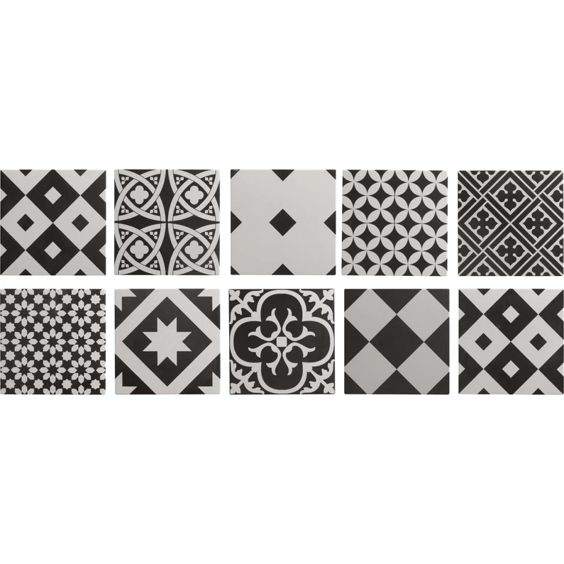 Carrelage Sol Et Mur Forte Effet Carreau De Ciment Noir Et Blanc