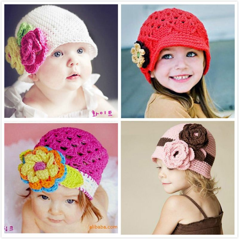 acea40a61 Hot Sale Crochet baby girl hats spring cute baby girl caps flower ...