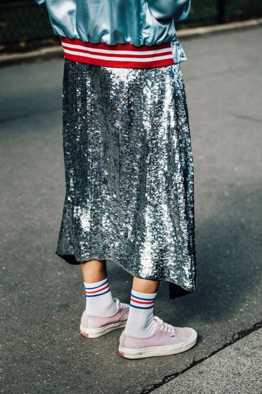 Sequin Skirt Amp Sneakers Style Street Style 2016