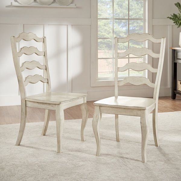 Eleanor French Ladder Back Wood Dining Chair Set Of 2 By TRIBECCA HOME