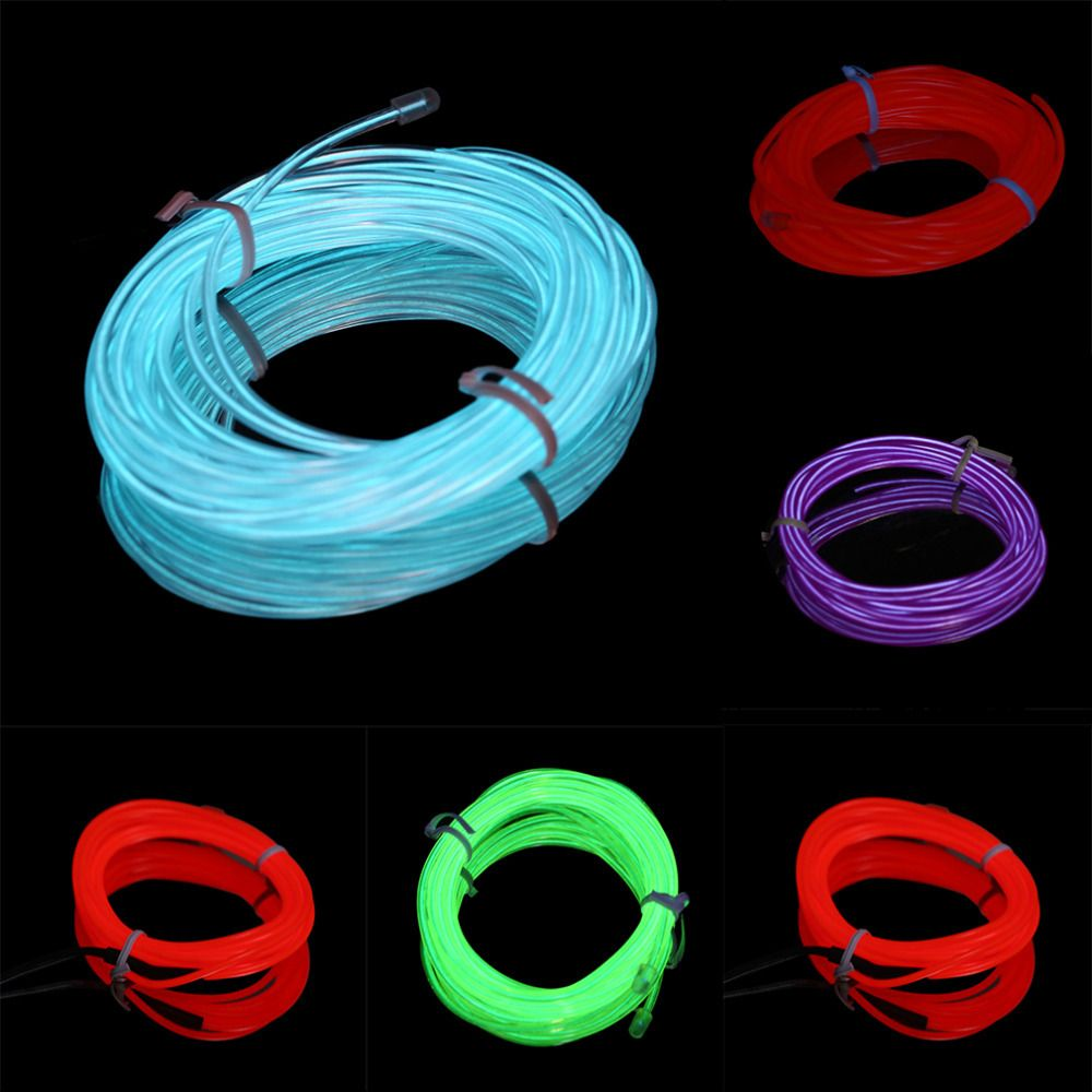 Hot Colorful 4m DC 12V Flexible EL Wire Tube Rope Neon Light Car ...