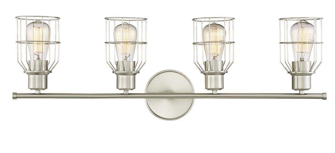 Trade Winds Peyton 4 Light 32 Bathroom Vanity Light In Brushed Nickel In 2020 Gold Faucet Bathroom Vanity Lighting Vanity Lighting
