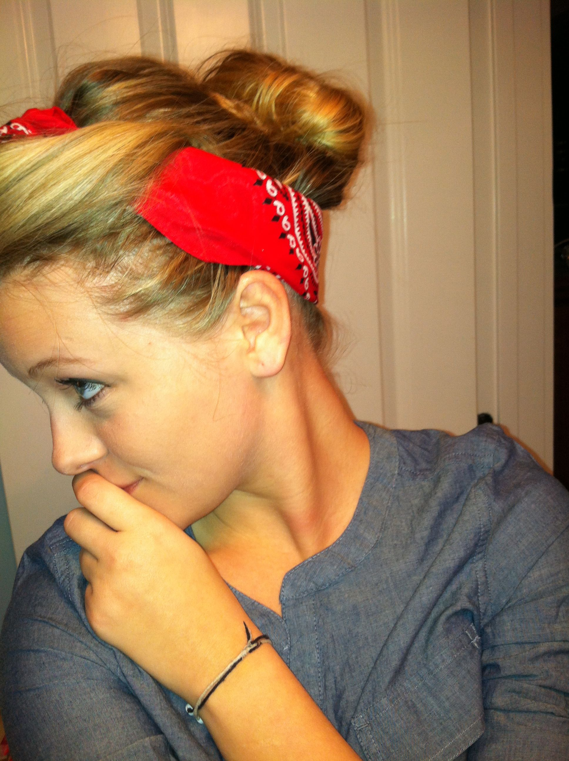 Bandana updo with big bangs fro pinterest bandana updo updo