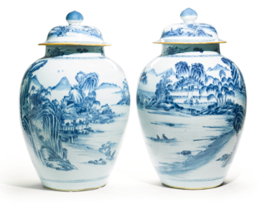 A PAIR OF BLUE AND WHITE 'LANDSCAPE' VASES AND COVERS QING DYNASTY, 18TH CENTURY - Sothebys
