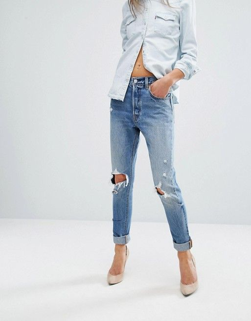 36a95aecfff Levi's 501 Skinny Jeans Ripped Knees | Style | Jeans, Ripped jeans ...