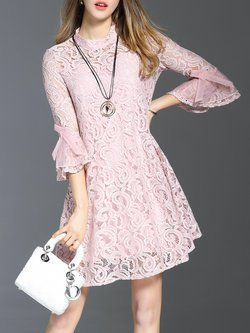 A-line Girly Guipure Lace Frill Sleeve Crew Neck Mini Dress with Camis