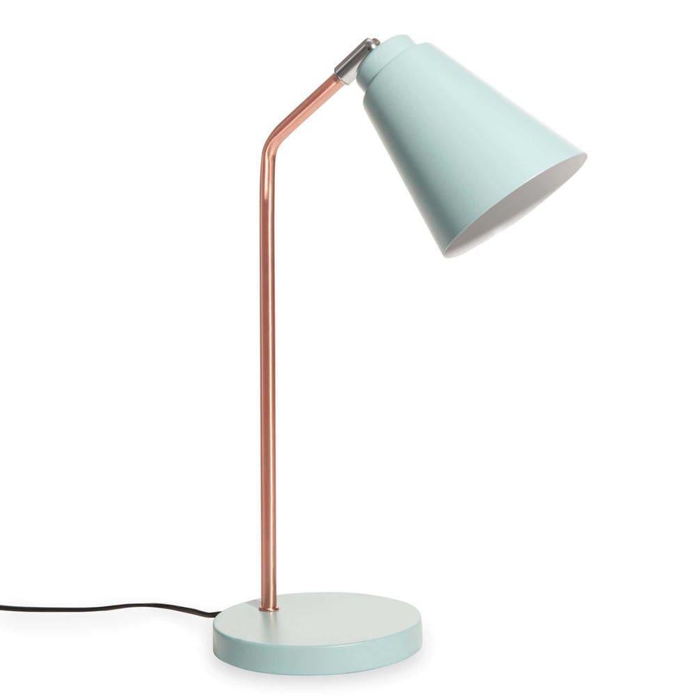 Lampe De Bureau En Metal Cuivre Et Bleu Clair Jessie Lampe De Bureau Luminaire Maison Du Monde Bureau Metal