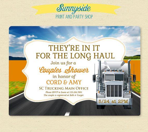 Long Haul Couples Wedding Shower Invite - Trucking Truck Driver - fresh formal invitation to judges