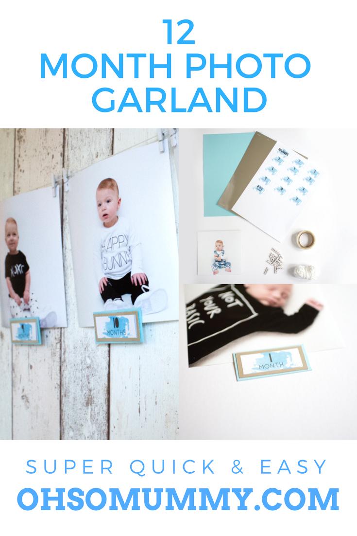Diy 12 Month Photo Garland With Free Printable Diy Pinterest