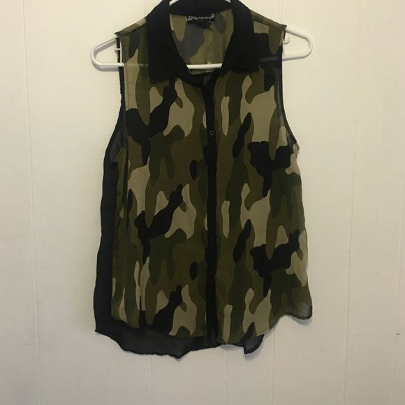 Camo Buttons back and front Tops Button Down Shirts