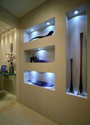 Espacio pared luminoso decoraci n pinterest drywall for Drywall designs living room