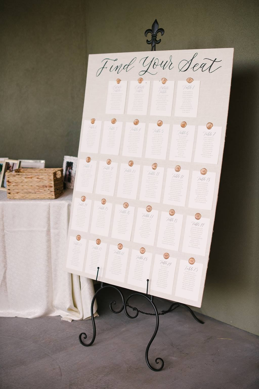 A custom seating chart from elisa anne calligraphy greeted