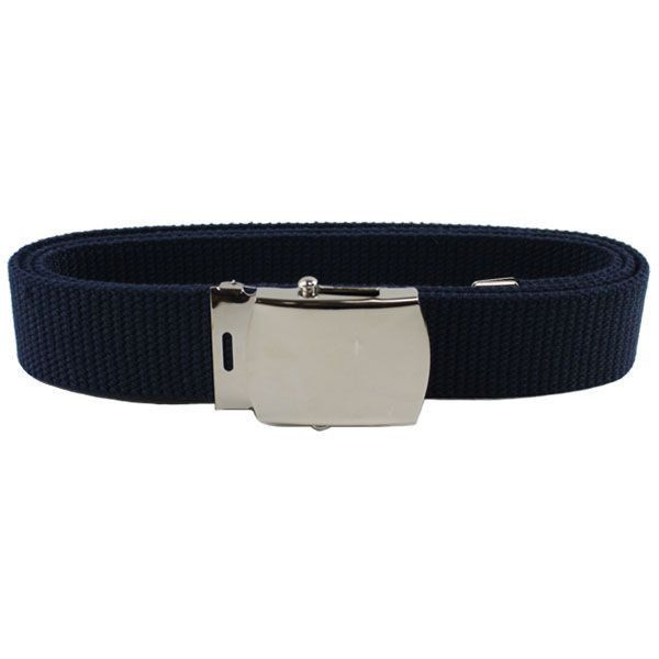 Air Force Belt: Blue Cotton with Mirror Buckle and Tip