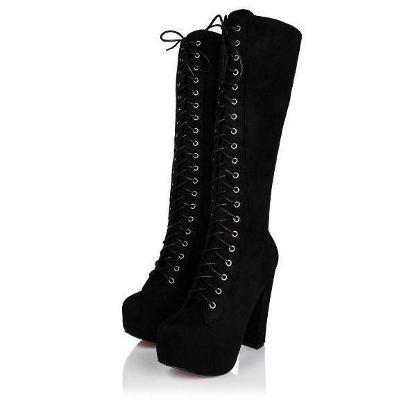 e5dfa65289e Amazon.com: Spy Love Buy PERFECTION Block Heel Lace Up Zip Platform ...