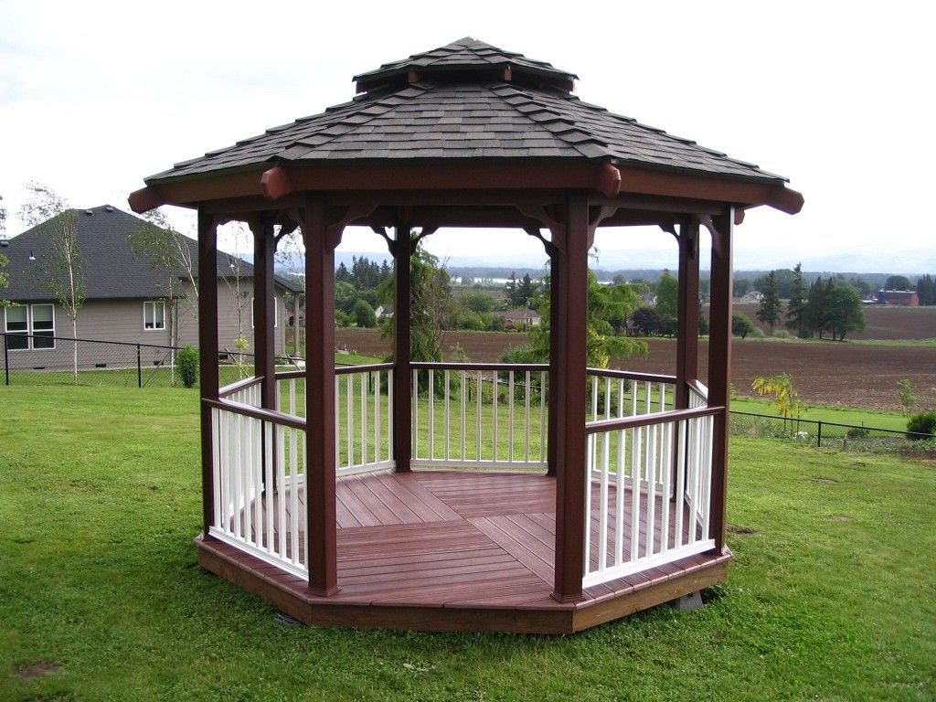 Beautiful Modern Outdoor Hexagonal Gazebo Design With Brown Solid